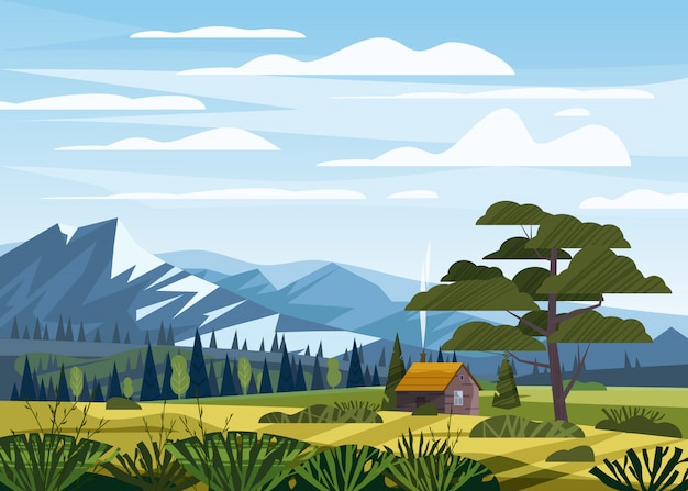 Campagna rurale della valle del paesaggio montano, prati verdi con le montagne