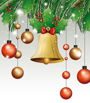 Campana con palline appese decorazioni natalizie
