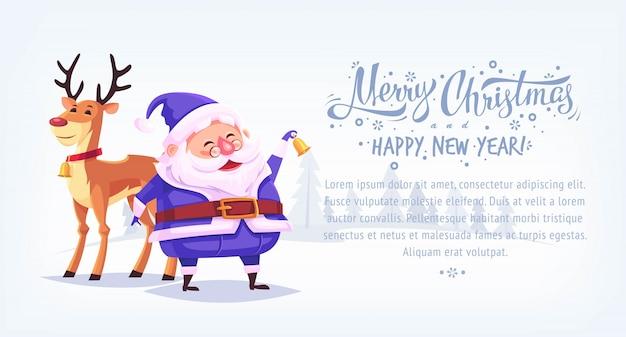 Campana di squillo di santa claus del vestito blu del fumetto sveglio con l'insegna di orizzontale dell'illustrazione di buon natale della renna