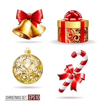 Campane, confezione regalo, candycane e palla di natale