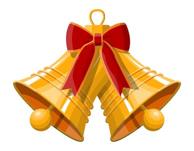 Campane di natale che suonano in oro con fiocco rosso. felice anno nuovo decorazione. buon natale vacanza. celebrazione del nuovo anno e del natale.