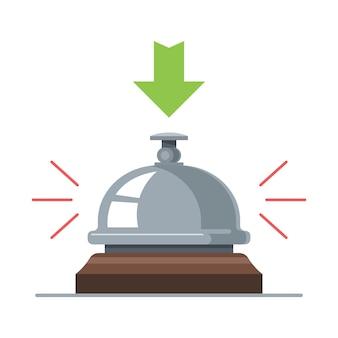 Campanello da scrivania per hotel. suono dalla pressione di un pulsante. illustrazione piatta.