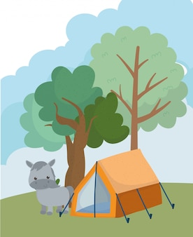 Campeggio carino asino tenda alberi erba natura cartoon