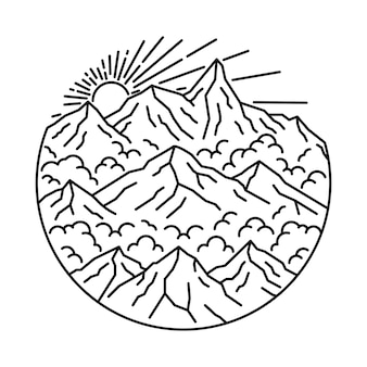 Campeggio che fa un'escursione l'illustrazione rampicante della natura della montagna