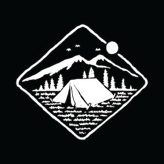 Campeggio che fa un'escursione progettazione grafica della maglietta di arte di vettore dell'illustrazione della natura di avventura