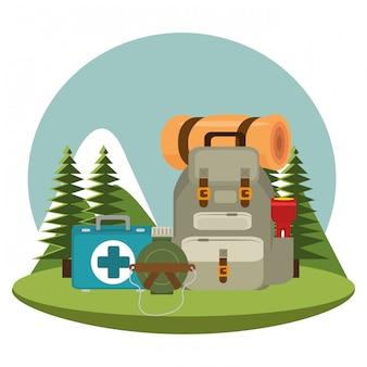Campeggio con attrezzature