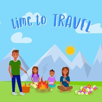Campeggio con famiglia cartolina vettoriale con testo.