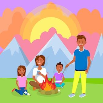 Campeggio con la famiglia nel disegno vettoriale di montagne.
