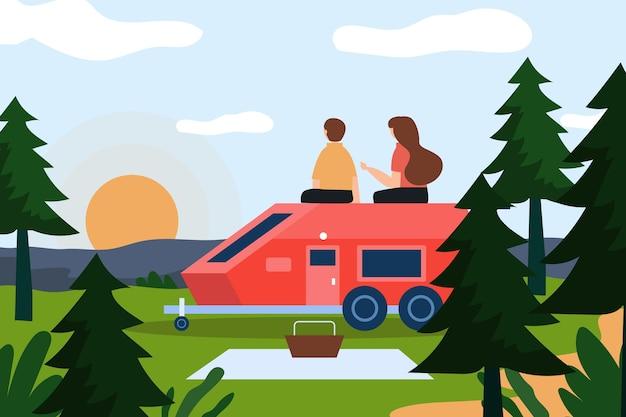 Campeggio con un'illustrazione di roulotte con uomo e donna
