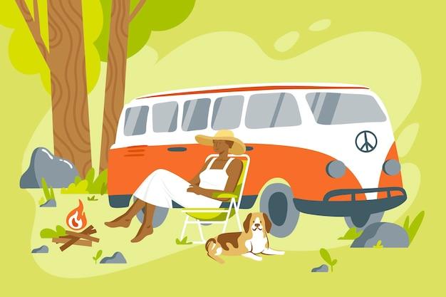Campeggio con un'illustrazione di roulotte