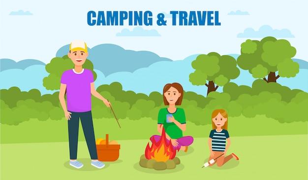Campeggio e viaggi banner piatto con lettering.