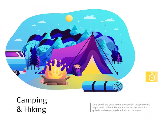 Campeggio escursionismo illustrazione colorata