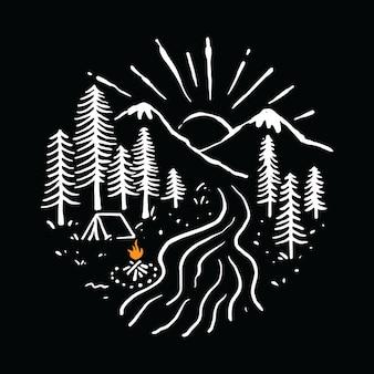 Campeggio escursionismo illustrazione di montagna