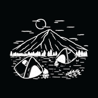 Campeggio escursionismo natura illustrazione montagna