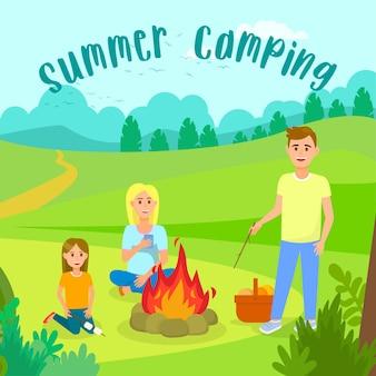 Campeggio estivo con illustrazione vettoriale di famiglia.