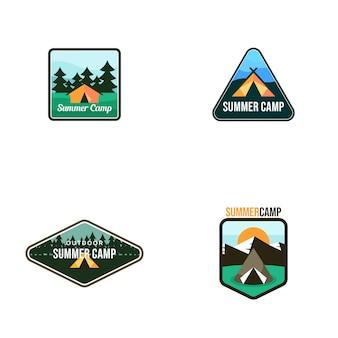 Campeggio estivo logo vettoriale modello