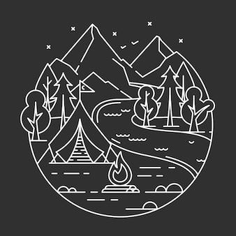 Campeggio in una foresta.