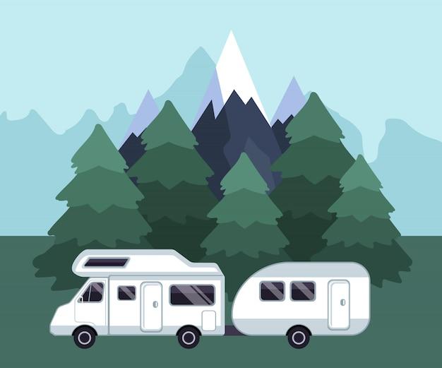 Campeggio paesaggio di viaggio