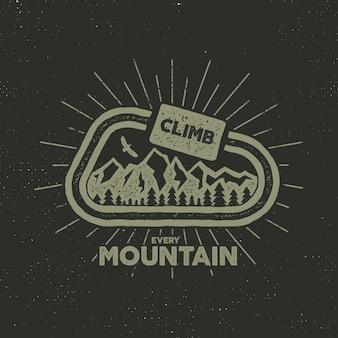 Campeggio retrò con testo, scalare ogni montagna