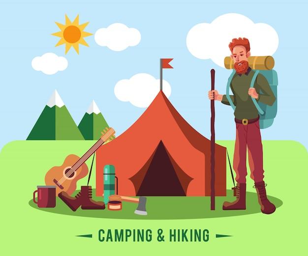 Campeggio set piatto con attrezzature da trekking e icone di cottura  all aperto c2729c376ae