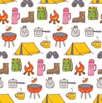 Campeggio sfondo di doodle kawaii