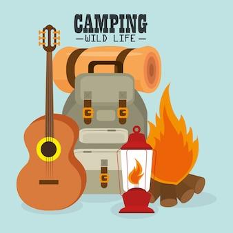 Campeggio vita selvaggia con attrezzatura