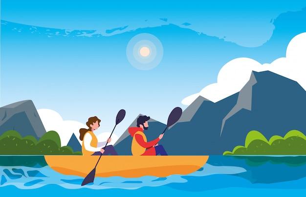 Camper in uno splendido paesaggio con kayak