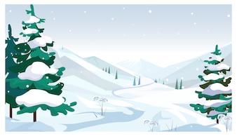 Campi invernali con illustrazione di caduta della neve
