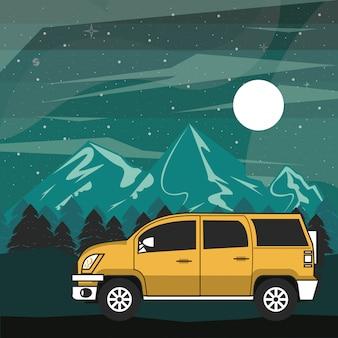 Camping avventura nella foresta di notte scenario