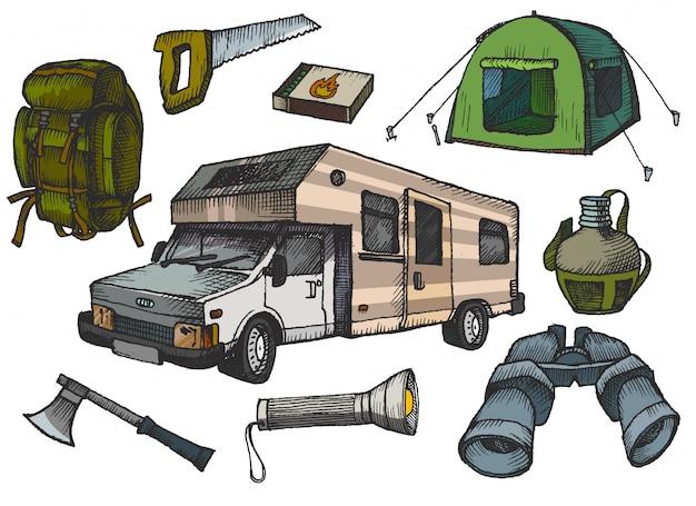 Camping elementi disegnati a mano
