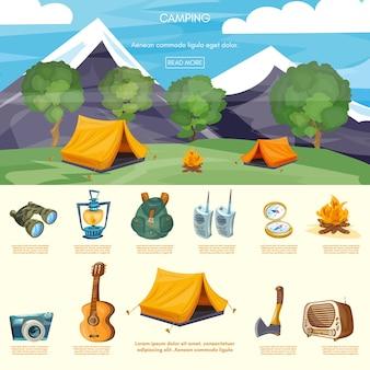 Camping elementi infografica