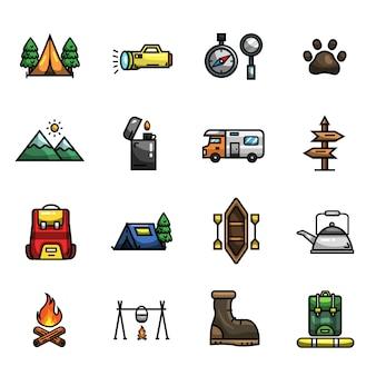 Camping escursionismo sopravvivenza ooutdoor elements set di icone a colori