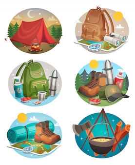 Camping round compositions set