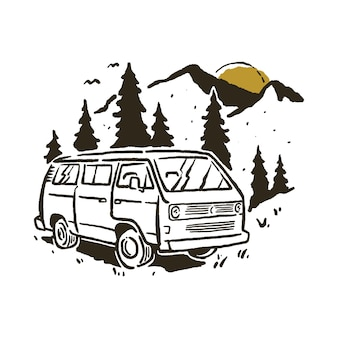 Camping van mountain illustration