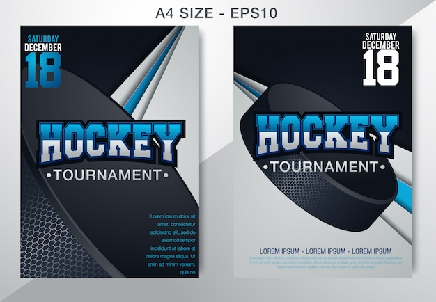 Campionato moderno di hockey su ghiaccio con il disco sul ghiaccio