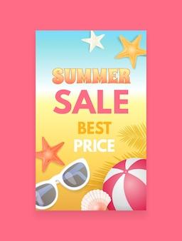 Campione dell'opuscolo di promozione dell'insegna di vettore di vendita di estate