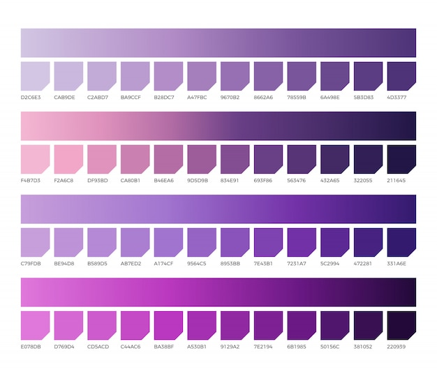 Campioni di colore pantone ultravioletti. campione viola, viola e viola, illustrazione color lavanda