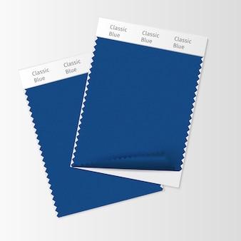 Campioni di tessuto, modello di campione tessile per mood board di design d'interni con classic blue