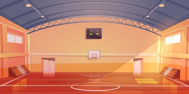 Campo da basket interno vuoto, stadio coperto