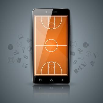 Campo da basket, sport, icona di smartphone.