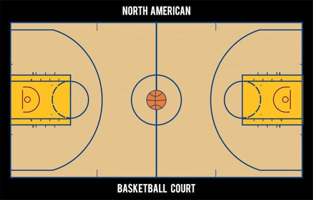 Campo da pallacanestro nordamericano. vista dall'alto