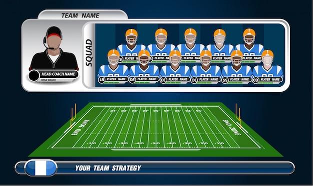 Campo di football americano con set di elementi infographic