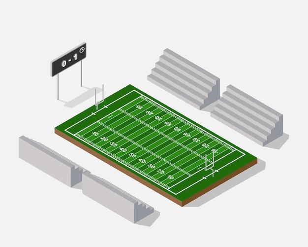 Campo di football americano isometrico 3d