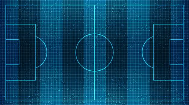 Campo di football americano moderno su tecnologia digitale virtuale background.vector