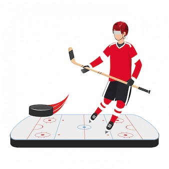 Campo di ghiaccio del giocatore di hockey