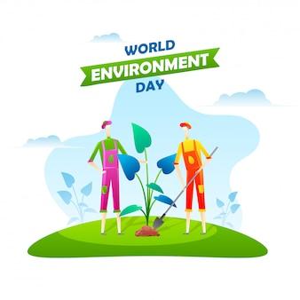 Campo di lavoro degli uomini di giardinaggio in occasione della giornata mondiale dell'ambiente