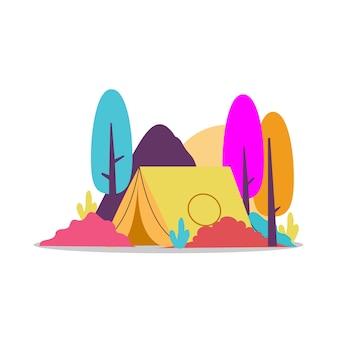 Campo di terra con sfondo colorato