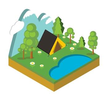 Campo isometrico, piatto 3d pixel art isometrico. illustrazione.