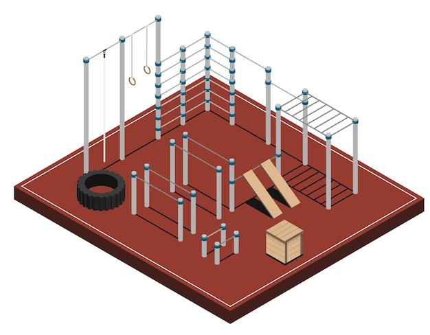 Campo sportivo con attrezzature per l'allenamento in legno e gomma in metallo su rivestimento marrone isometrico