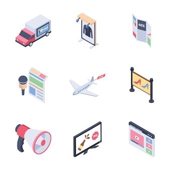 Canali multimediali pubblicitari digitali impostano icone isometriche
